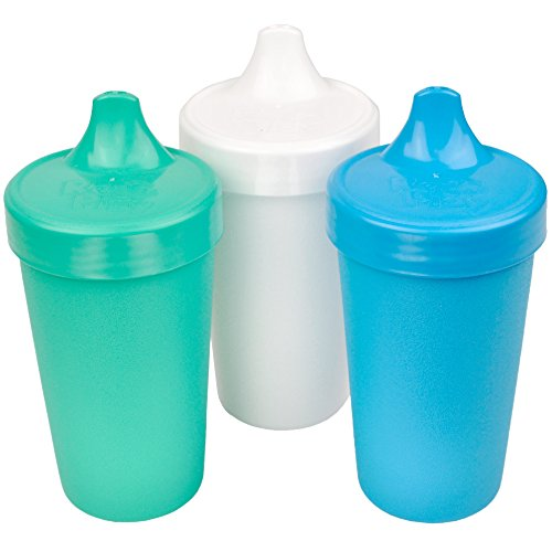 RePlay Made in USA 3pk No Spill Sippy Cups for Baby Toddler and Child Feeding in Aqua White and Sky Blue | Made from Eco Friendly Recycled Milk Jugs  Virtually Indestructible Cool Breeze