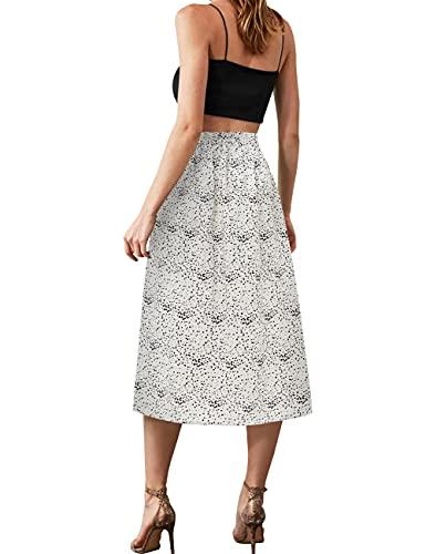 MUADRESS 9013 Chic Falda Midi Mujer Estampado de Flores Cintura Alta Tapeze Vintage Swing Falda de Cóctel Lunare Negro Blanco XL