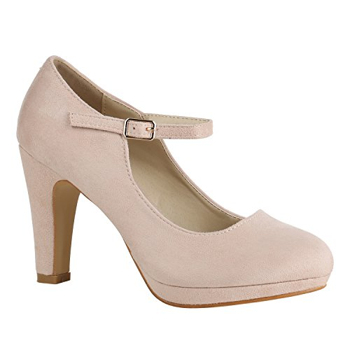 Damen Schuhe Pumps T-Strap High Heels Riemchenpumps Stilettos 157209 Rosa Berkley 38 Flandell