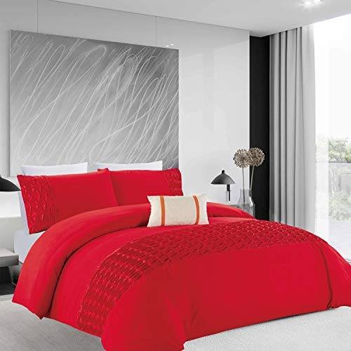 Oxford Homeware Quilt Cover Brushed Microfiber Pintuck Duvet Covers Bedroom Décor Ultra Soft Hypoallergenic Bedding Set + Pillowcases (Red Wrinkled, Super King, (260 x 220 cm))