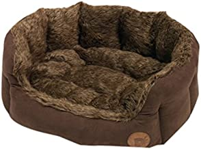 Petface Brown Lux Fur Oval Bed,Large