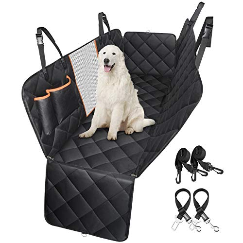 Dog Car Seat Cover with Mesh Viewing Window, ATMOKO Durable Scratch Proof Dog Seat Covers with Seat Belts / Storage Pocket/Side Flaps, Waterproof Dog Hammock Nonslip Backing and Seat Anchors for Cars