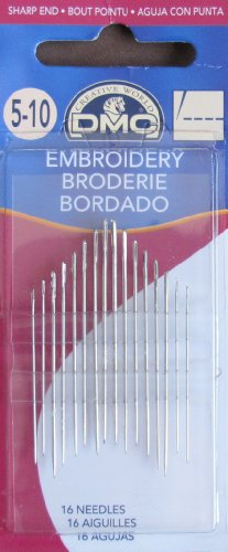 DMC Sharp End EMBROIDERY SEWING NEEDLES Pack of 16 Needles SIZE 5-10
