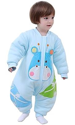 BEIFANCHEN - Mono Saco de Dormir Espese para Bebés Invierno Pijama de Algodón con Pies Cremallera Mangas Desmontables Estampado 3D Dibujos Animados Cartoon para Niños Niñas