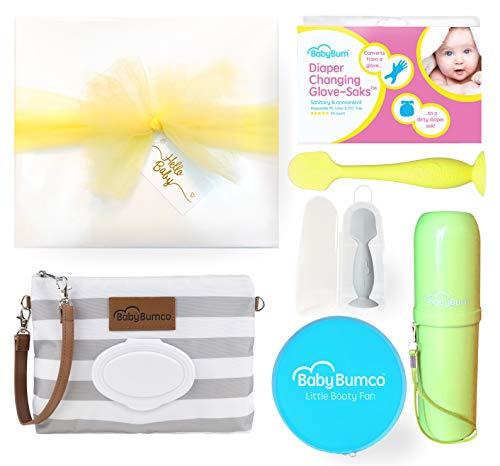 Gender Neutral Baby Bumco Gift Box - Pre-Wrapped & Ready - Diaper Clutch, Diaper Cream Brush, Mini Diaper Cream Brush, Little Booty Fan, and Glove-Saks! (Neutral)