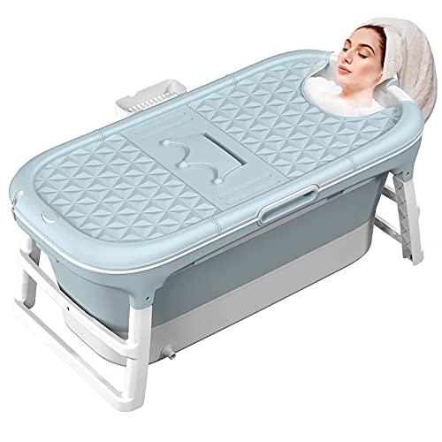 MCGMITT Vasca da bagno pieghevole, grande vasca da bagno pieghevole portatile più spessa Vasca da bagno in plastica SPA di manutenzione della temperatura efficiente per bambini/adulti (128CM)
