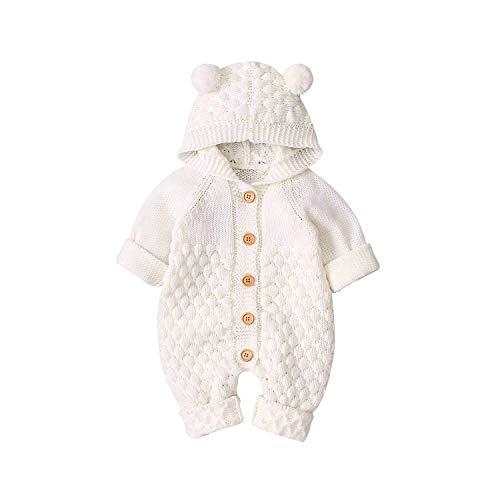 Bebé Recién Nacido Mono Unisex de Punto para Niños Niñas Mameluco Ropa Suéter Invierno Cálido con Diseño Infantil de Oreja Oso en Capucha Traje de Una Pieza (Blanco, 0-6 Meses)