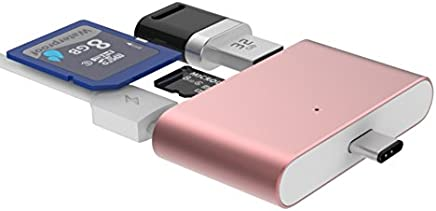 Type C Card Reader USB 3.1 Type C to USB 2.0 OTG Adapter with TF Card/Micro SD Card/U Disk Reader for New MacBook/Huawei MateBook/Windows/Android(Rose Gold)