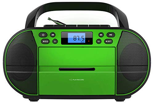 CD-Player mit Kassettendeck | Tragbares Stereo Radio | Kinder Radio | Stereo Radio | USB | CD/MP3 Player | Radio | Kopfhöreranschluss | Aux in | LCD-Display | (Cambodia Green)
