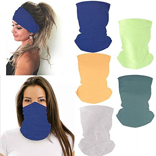 Handcess Outdoor-Yoga-Stirnbänder, blau, elastisch, wiederverwendbar, Bandana, Sport, UV-Widerstand, Kopfbedeckung, Motorrad, Wandern, Gesichtsmasken für Damen und Herren, 5 Stück