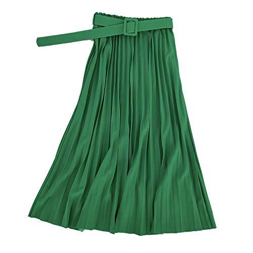 Skirts Verano de las Mujeres de la Moda Elegante Retro Plisado Femenino 2020 Cintura Alta con Cinturón de Gasa Plisado Midi Largo Mujer
