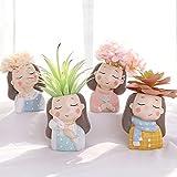 LBYLYH 4pcs / Set Plantas de Resina Maceta Creativa Mini macetas Macetero Suculenta Cactus Bonsai Maceta Estatua Adornos