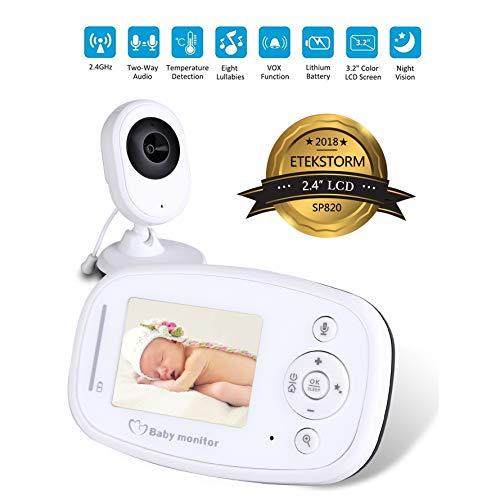 ZLMI Tragbare Anzeige des Baby-Monitors Zwei-Wege-Sprechanlage Eingebautes Nachtlicht Raumtemperaturerfassung 2,4-Zoll-LCD-Bildschirm
