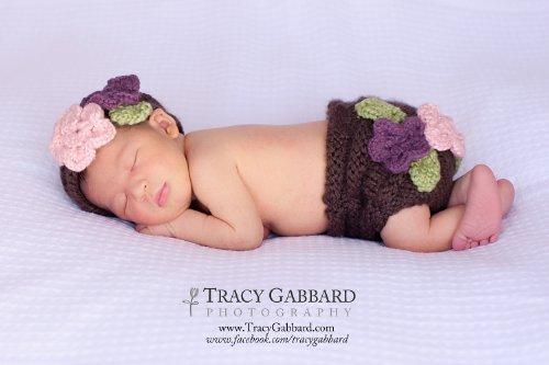 Floral Diaper Cover and Headband Set Knitting Pattern - 4 Sizes Inclu