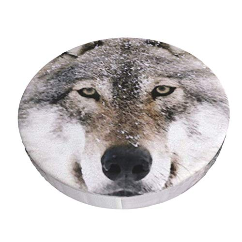 Round Bar Stools Cover,Wolf Im Winter Malen,Stretch Chair Seat Bar Stool Cover Seat Cushion Slipcovers Chair Cushion Cover Round Lift Chair Stool