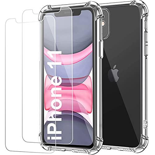 "Funda para iPhone 11 y Cristal Templado Protector de Pantalla (2 Pack),Carcasa Protectora Antigolpes Transparente IPhone11 6.1"",Vidrio Templado (9H 0.33mm),TPU Suave Flexible Cover"