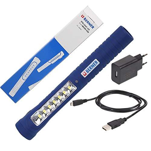 Berner Pen Light LED 7+1 Micro USB LED Lampe Werkstattlampe inkl. Netzladegerät microUSB