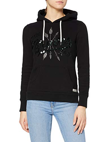 Superdry Womens Off Piste Sparkle Hood Hooded Sweatshirt, True Black, 12