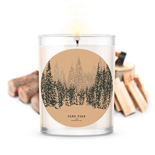 Kate Bissett Fall Candles | Autumn Campfire | Made with 100% Natural Soy and Coconut Wax | Hand Poured 18 oz Candles | Smoky BlackBerry Merlot with Touches of Cedarwood, and Amber | Home Decor Gifts