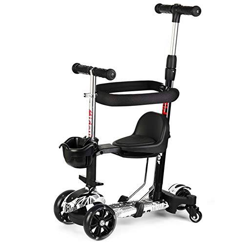 Best Bargain Baby Stroller YXGH@ Kids 4 Flashing Wheel Kick Scooter – Perfect for Children Aged 1-2-6 – Universal Wheels, with Removable & Adjustable Seat/Adjustable Handles and Putter