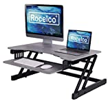 Rocelco 32' Height Adjustable Standing Desk Converter - Quick Sit Stand Up Dual Monitor Riser - Gas Spring Assist Tabletop Computer Workstation - Large Retractable Keyboard Tray - Gray (R ADRG)