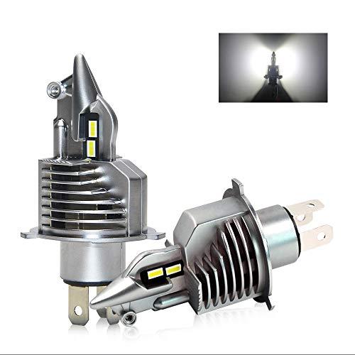 OPPULITE Bombilla H4 LED Coche, 16000LM 70W 6500K Blanco Extremadamente Brillante Kit de Conversión de Faros H4 LED con Ventilador, IP67 Impermeable Luces H4 LED para Coche y Moto (2 Lamparas)