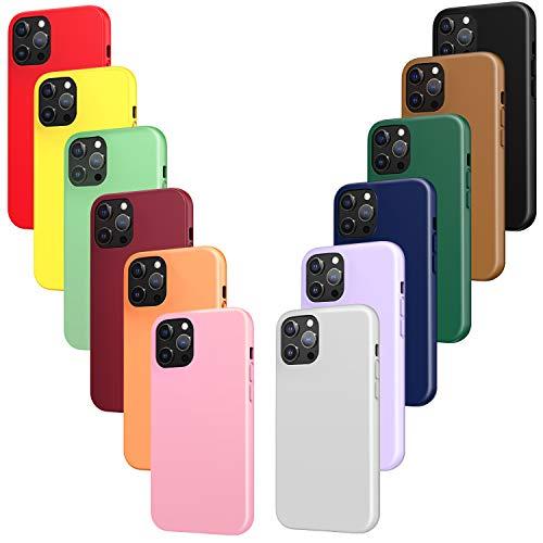 ivoler 12x Funda para iPhone 12 Pro MAX, Fina Carcasa Silicona TPU Protector Flexible Funda (Negro, Gris, Azul, Verde Oscuro, Verde, Morado, Rosa, Rojo Vino, Rojo, Amarillo, Naranja, Marrón)