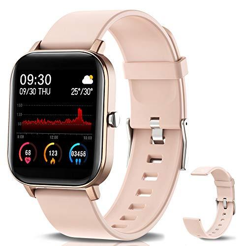 NAIXUES Smartwatch, Reloj Inteligente Impermeable IP67 Reloj Deportivo 1.4' Pantalla Táctil Completa con Pulsómetro, Monitor de Sueño, Podómetro, Notificaciones para Mujer Hombre (Rosa Oro)