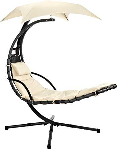 ALL-JingHong Sonnenliege verstellbar Outsunny Gartenliege Relaxliege mit Sonnendach Garten Stahl Grau 200 * 103 * 180cm Beige JH-1120