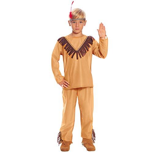 Amakando Moderno Disfraz Infantil Cacique Wild West - Marrn 7 - 9 aos, 127 - 132 cm - Disfraz de Carnaval lejano Oeste - Ideal para Fiestas de Disfraces y Fiestas Infantiles