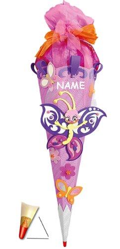 alles-meine.de GmbH BASTELSET Schultüte - Schmetterling 85 cm - incl. Namen - mit Holzspitze - Zuckertüte Roth - ALLE Größen - 6 eckig Mädchen Blüten Blumen Schmetterlinge lila