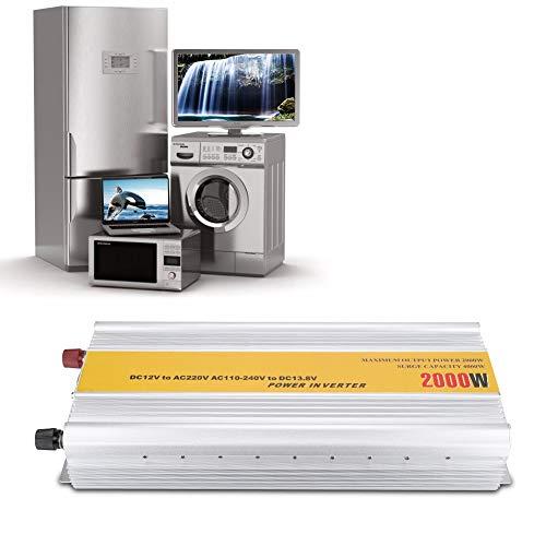 Naroote Wechselrichter, 2000W 4000W Wasserdichter Haushalts Sinus Wechselrichter DC/AC Wandler 12V/220V