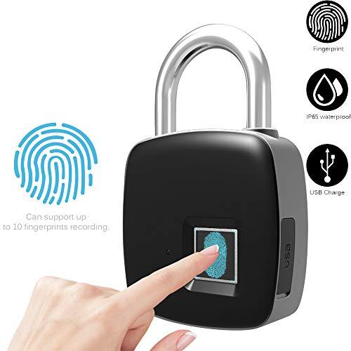 Fingerabdruck Sperren Elektronisches Sicherheits Vorhängeschloß Smart Keyless Sicher Türschloss Berühren 1 Sekundenschnelles Entsperren USB Aufladung IP65 Wasserdichte Unterstützung 10 Fingerabdrücke
