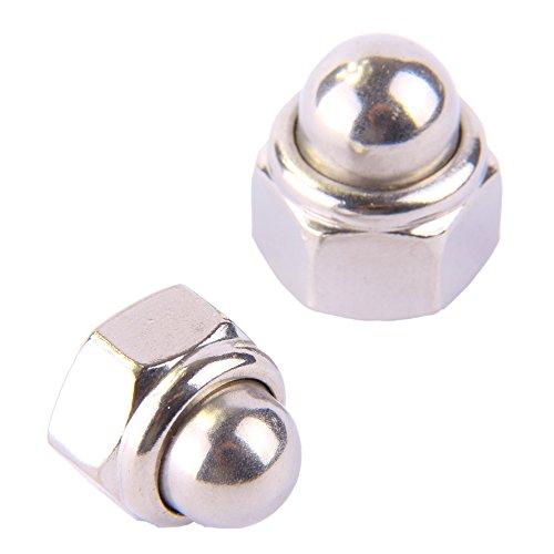Hutmuttern M12 DIN 986 selbstsichernd, Edelstahl A2 (10 Stück) - Sechskant-Hutmuttern Stopmuttern Sicherungsmuttern
