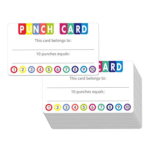 """102 PCS Punch Cards Incentive Loyalty Reward Card for Classroom Business (3.5"""" x 2"""")"""
