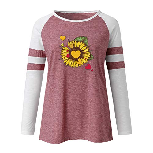 DOFENG Damen T Shirt Bluse Sweatshirt Damen Lange Ärmel Mode Locker Drucken Lässig O Hals Pullover Oberteil Tops (B-Rosa, XXX-Large)