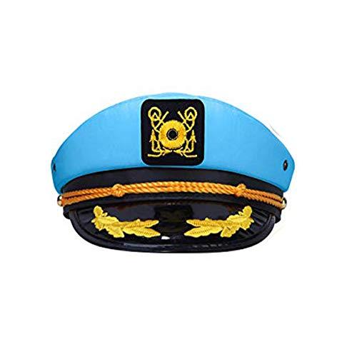 dodowin Captain Hat Blue Sailor Hat for Women 1 Pack Adjustable Sailor Hat Costume Boating Captains Hat for Party