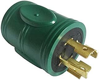 Parkworld 691593 Power Adapter 4-Prong 20A Generator Locking L14-20P Male Plug to RV 30A TT-30R Female Receptacle, Green