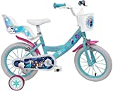 Bicicletta DISNEY FROZEN - misura 16'' - rotelle e freno anteriore / posteriore - colore azzurro / rosa