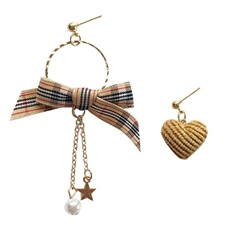 Yhhzw Asymmetrical Heart Drop Earrings Jewelr Simulated Pearl Star Cloth Bowknot Ddrop Earrings For Girl Student Gifts