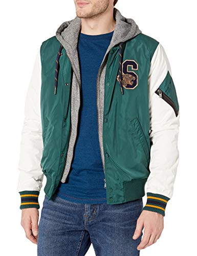 Superdry Men's Varsity Hooded Bomber Jacket, Pine, L