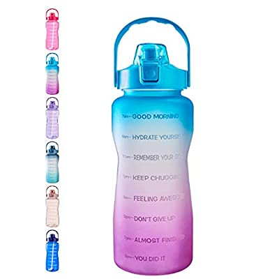 Half Gallon/64oz Motivational Water Bottle with Time Marker & Straw to Drink, Leakproof Tritan BPA Free for Fitness, Gym & Outdoor Sports (Ombre-Green Purple)