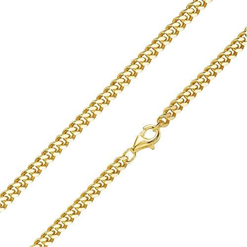 MATERIA Herren Panzerkette 4mm 925 Silber vergoldet 8-fach diamantiert/deutsche Fertigung #K92, Länge Halskette:60 cm