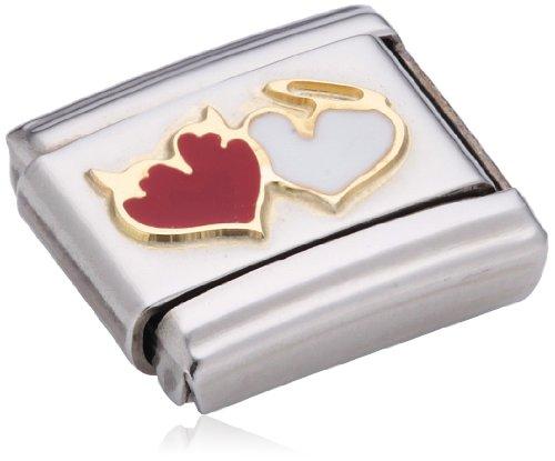Nomination Composable Damen-Bead Classic Love Edelstahl Emaille 18k-Gold (Herzen mit Engel Teufel) 030253/27