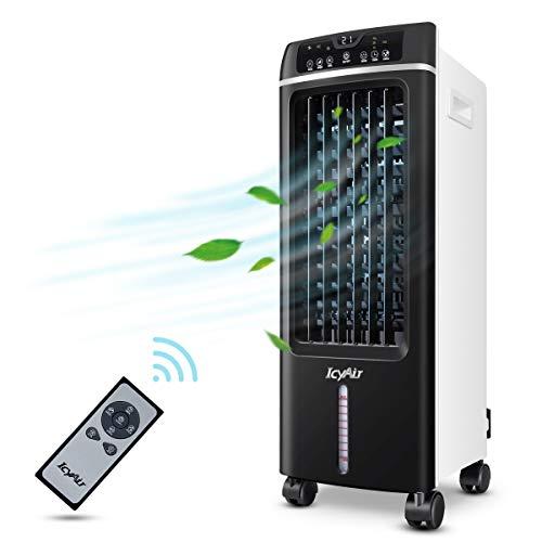 Mobile Klimaanlage, Mobile Luftkühler, 3 in1 Air Cooler(Ventilator Luftreiniger Luftbefeuchter) Luftdurchsatz: 550 m³/h, 7.5-Stunden-Timer, 3 Leistungsstufen, Mit Touchscreen und Fernbedienung