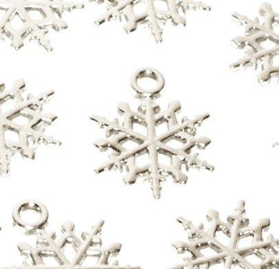 25ciondoli argentati a forma di fiocco di neve