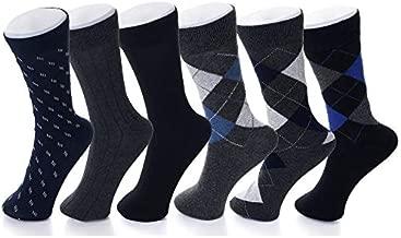 Alpine Swiss Mens Cotton 6 Pack Dress Socks Solid Ribbed Argyle Shoe Size 6-12 Multicolor