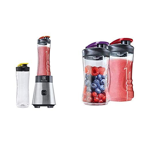 Electrolux ESB2500 Sportsblender Mini Frullatore, 23.000 Giri/min, 2 Bottiglie 0.6 l in Tritan Antir e AEG ASBEB2 Borracce Aggiuntive per Mini Mixer, Argento/Nero