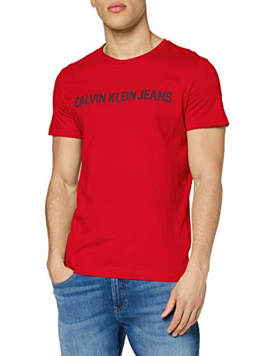 Calvin Klein Institutional Logo Slim SS Tee Camicia, Red Hot, XS Uomo