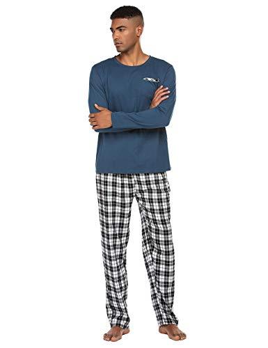 Schlafanzug Herren Lang Pyjama Nachtwäsche Schlafhose Oberteile Schlafshirt mit Taschen für Männer Herbst Winter Zuhause Blau